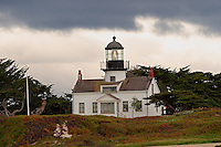The Point Pinos Lighthouse marks the south entrance to Monterey Bay along California's Coast. The Point Pinos Lighthouse is the oldest active lighthouse on the West Coast, first becoming active in 1855, and is an example of the first 16 built on the California Coast. The original Third Order Fresnel lens is still in operation though the lighthouse was automated in 1975.