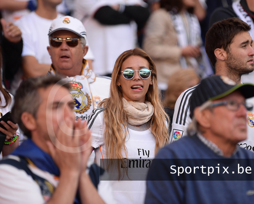 20140524 - LISBON , PORTUGAL : Real Madrid Fans pictured during the soccer match between Real Madrid CF and Club Atletico de Madrid in the UEFA Champions League Final on Saturday 24 May 2014 in Estadio Da Luz in Lisbon .  PHOTO DAVID CATRY