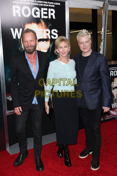 NEW YORK, NY - SEPTEMBER 28: Sting, Trudy Styler and Chris Botti at the premiere of Roger Waters The Wall at The Ziegfeld Theater in New York City on September 28, 2015. <br /> CAP/MPI/COR<br /> &copy;COR/MPI/Capital Pictures