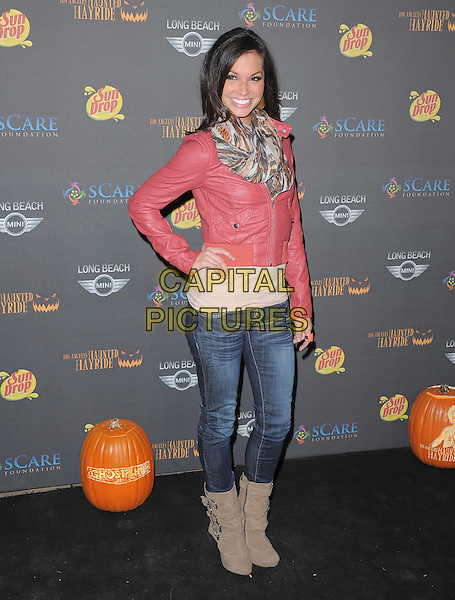 Melissa Rycroft-Strickland .at 3rd Annual Los Angeles Haunted Hayrideheld at Griffith Park, Old Zoo, Los Angeles, California, USA..9th October 2011  .full length jacket jeans denim beige boots pink leather brown white grey gray print scarf hand on hip.CAP/RKE/DVS.©DVS/RockinExposures/Capital Pictures