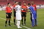11 March 2008: Captains Maurice Edu (USA) (6) and Yenier Bermudez (CUB) (3) shake hands at the pregame coin flip. The United States U-23 Men's National Team tied the Cuba U-23 Men's National Team 1-1 at Raymond James Stadium in Tampa, FL in a Group A game during the 2008 CONCACAF's Men's Olympic Qualifying Tournament.