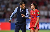 DECINES-CHARPIEU, FRANCE - JULY 02: Phil Neville congratulates Alex Morgan #13 Alex Morgan #13 during a 2019 FIFA Women's World Cup France Semi-Final match between England and the United States at Groupama Stadium on July 02, 2019 in Decines-Charpieu, France.
