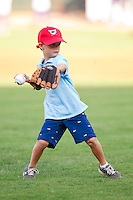 A young fan throws out a ceremonial first pitch prior to the Carolina League game between the Wilmington Blue Rocks and the Winston-Salem Dash at BB&T Ballpark on August 3, 2013 in Winston-Salem, North Carolina.  The Blue Rocks defeated the Dash 4-2.  (Brian Westerholt/Four Seam Images)