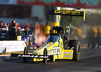 Sep 27, 2013; Madison, IL, USA; NHRA top fuel dragster driver Morgan Lucas during qualifying for the Midwest Nationals at Gateway Motorsports Park. Mandatory Credit: Mark J. Rebilas-