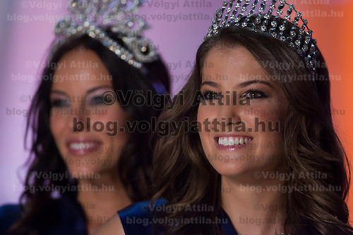 Betta Lipcsei (L) and Linda Szunai (R) two winners of the joint Beauty Queen contest in Hungary's tv2 television headquarter in Budapest, Hungary on July 14, 2011. ATTILA VOLGYI