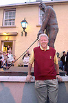 BILL CLINTON BALLYBUNION  20-5-01<br /> President Bill Clinton  stands in front of his statue in Ballybunion in County Kerry after playing a round of golf with Dick Spring.<br /> Picture by Don MacMonagle