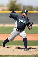 Erasmo Ramirez #25 of the Seattle Mariners pitches in a minor league spring training game against the Kansas Royals at the Royals complex on March 25, 2011 in Surprise, Arizona. .Photo by:  Bill Mitchell/Four Seam Images.
