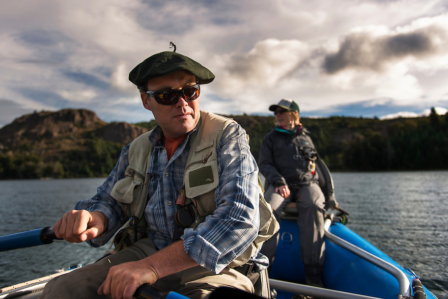 Benjamín Beale navigates big brown trout water in Los Alerces National Park, central Patagonia.