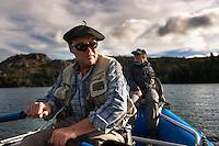 Benjamín Beale navigates big brown trout water in Los Alerces National Park, central Patagonia.