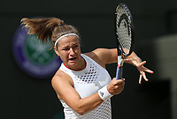 Karolina Muchova (CZE) during her match against Elina Svitolina UKR) in their Ladies' Singles Quarter-Finals match<br /> <br /> Photographer Rob Newell/CameraSport<br /> <br /> Wimbledon Lawn Tennis Championships - Day 8 - Tuesday 9th July 2019 -  All England Lawn Tennis and Croquet Club - Wimbledon - London - England<br /> <br /> World Copyright © 2019 CameraSport. All rights reserved. 43 Linden Ave. Countesthorpe. Leicester. England. LE8 5PG - Tel: +44 (0) 116 277 4147 - admin@camerasport.com - www.camerasport.com