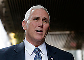 United States Vice President-elect Mike Pence speaks to reporters outside of Trump Tower on December 5, 2016 in New York City. U.S. President-elect Donald Trump is still holding meetings upstairs at Trump Tower as he continues to fill in key positions in his new administration.  <br /> Credit:John Angelillo / Pool via CNP