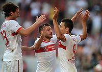 Fussball Europa League Play Offs:  Saison   2012/2013     VfB Stuttgart - Dynamo Moskau  22.08.2012 Jubel nach dem Tor zum 1:0 Tim Hoogland, Tunay Torun und Vedad Ibisevic  (v. li., VfB Stuttgart)