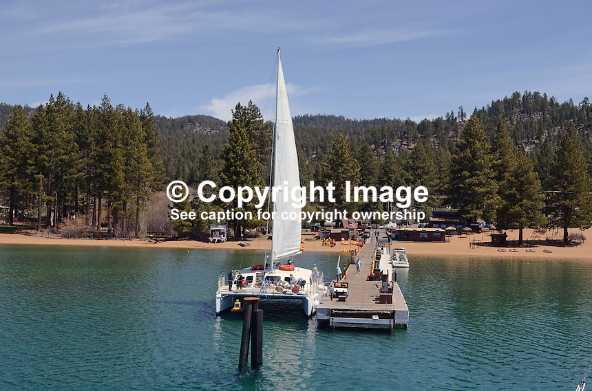 Catamaran, moored, Zephyr Cove, Nevada, USA, South Lake Tahoe. The lake itself is split vertically between Nevada in the East and California in the West. 201304261823<br /> <br /> Copyright Image from Victor Patterson, 54 Dorchester Park, Belfast, UK, BT9 6RJ<br /> <br /> Tel: +44 28 9066 1296<br /> Mob: +44 7802 353836<br /> Voicemail +44 20 8816 7153<br /> Skype: victorpattersonbelfast<br /> Email: victorpatterson@me.com<br /> Email: victorpatterson@ireland.com (back-up)<br /> <br /> IMPORTANT: If you wish to use this image or any other of my images please go to www.victorpatterson.com and click on the Terms &amp; Conditions. Then contact me by email or phone with the reference number(s) of the image(s) concerned.