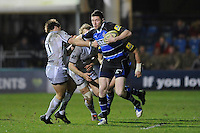 Jack Cuthbert of Bath Rugby breaks upfield during the LV= Cup semi final match between Bath Rugby and Leicester Tigers at The Recreation Ground, Bath (Photo by Rob Munro, Fotosports International)