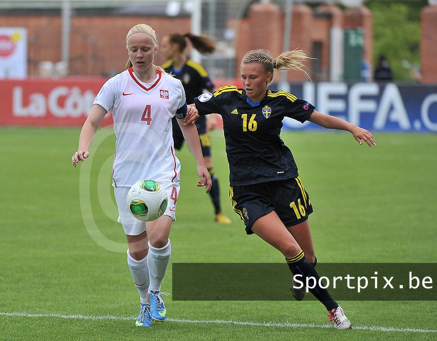 Poland - Sweden : Paulina Dudek (4) en Amanda Ostervall (16)<br /> foto David Catry / Nikonpro.be