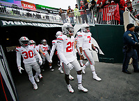 Ohio State Buckeyes quarterback Dwayne Haskins Jr. (7) and wide receiver Parris Campbell Jr. (21) lead their team onto the field for warm-ups prior to the NCAA football game against the Michigan State Spartans at Spartan Stadium in East Lansing, Mich. on Nov. 10, 2018. [Adam Cairns/Dispatch]