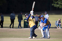 Jamie Porter of Essex goes high over long on during Upminster CC vs Essex CCC, Benefit Match Cricket at Upminster Park on 8th September 2019