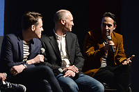 """NEW YORK - APRIL 7: (L-R) Steve Levenson, Joel Fields and Lin-Manuel Miranda attend a Q&A after the screening of FX's """"Fosse Verdon"""" presented by FX Networks, Fox 21 Television Studios, and FX Productions at the Museum of Modern Art on April 7, 2019 in New York City. (Photo by Anthony Behar/FX/PictureGroup)"""