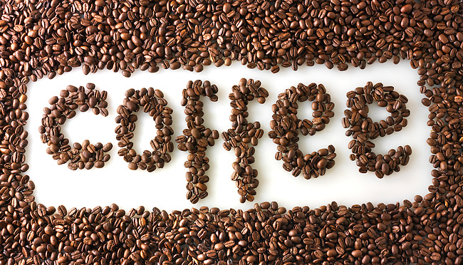 "Coffee beans spelling the word ""coffee"""
