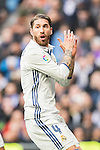 Sergio Ramos of Real Madrid looks on during their La Liga 2016-17 match between Real Madrid and Malaga CF at the Estadio Santiago Bernabéu on 21 January 2017 in Madrid, Spain. Photo by Diego Gonzalez Souto / Power Sport Images
