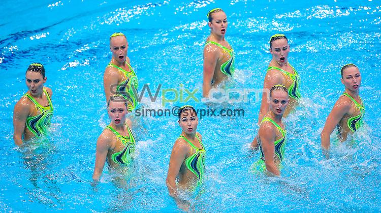 Picture by Alex Whitehead/SWpix.com - 09/05/2016 - Synchronised Swimming - 2016 LEN European Aquatics Championships - London Aquatics Centre, London, England - Ukraine compete in the Synchronised Swimming Team Technical final.