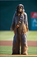 Star Wars character Chewbacca stands on the field before a California League game between the Lancaster JetHawks and San Jose Giants at San Jose Municipal Stadium on May 12, 2018 in San Jose, California. Lancaster defeated San Jose 7-6. (Zachary Lucy/Four Seam Images)