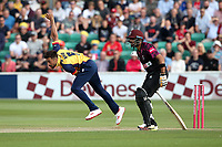 Mohammad Amir in bowling action for Essex during Essex Eagles vs Somerset, Vitality Blast T20 Cricket at The Cloudfm County Ground on 7th August 2019