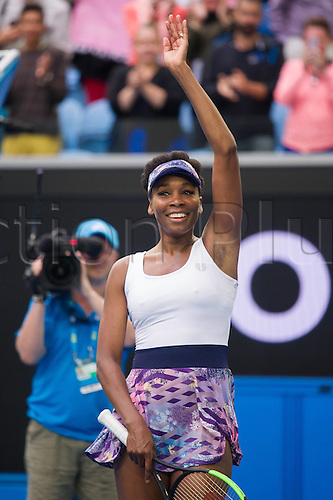 January 20th 2017, Melbourne Park, Melbourne, Australia; Venus Williams (USA) celebrates victory after her match against Ying-Ying Duan (CHN) in the third round of the 2017 Australian Open Tennis Grand Slam tournament; Williams won 6-1 6-0