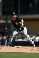 Miami Marlins pitcher Aaron Crow (43) during a Spring Training game against the Detroit Tigers on March 25, 2015 at Joker Marchant Stadium in Lakeland, Florida.  Detroit defeated Miami 8-4.  (Mike Janes/Four Seam Images)