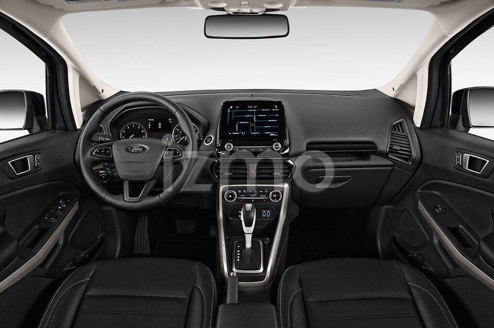 Stock photo of straight dashboard view of a 2018 Ford Ecosport Titanium 5 Door SUV