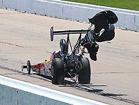 May 21, 2017; Topeka, KS, USA; NHRA top alcohol dragster driver Alan Bradshaw deploys his parachutes during the Heartland Nationals at Heartland Park Topeka. Mandatory Credit: Mark J. Rebilas-USA TODAY Sports