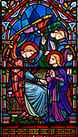 Victorian 19th century stained glass window, church of Bradfield Combust, Suffolk, England, UK c 1861 He is Risen