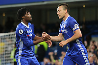 John Terry celebrates scoring Chelsea's opening goal with Nathaniel Chalobah during Chelsea vs Watford, Premier League Football at Stamford Bridge on 15th May 2017