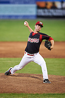 Batavia Muckdogs pitcher LJ Brewster (33) delivers a pitch during a game against the Mahoning Valley Scrappers on June 22, 2015 at Dwyer Stadium in Batavia, New York.  Mahoning Valley defeated Batavia 15-11.  (Mike Janes/Four Seam Images)