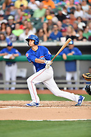 Tennessee Smokies starting pitcher Preston Morrison (19) swings at a pitch during a game against the Biloxi Shuckers at Smokies Stadium on May 26, 2017 in Kodak, Tennessee. The Smokies defeated the Shuckers 3-2. (Tony Farlow/Four Seam Images)