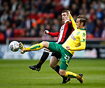 John Fleck of Sheffield Utd  tackles James Maddison of Norwich City during the Championship match at Bramall Lane Stadium, Sheffield. Picture date 16th September 2017. Picture credit should read: Simon Bellis/Sportimage