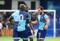 Goal scorer Sam Wood of Wycombe Wanderers (11) jokes with Marcus Bean and Adebayo Akinfenwa (20) during the Friendly match between Maidenhead United and Wycombe Wanderers at York Road, Maidenhead, England on 30 July 2016. Photo by Alan  Stanford PRiME Media Images.