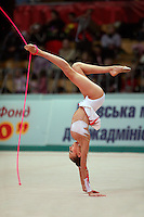 "Evgenia Kanaeva of Russia performs walkover with rope at 2008 World Cup Kiev, ""Deriugina Cup"" in Kiev, Ukraine on March 22, 2008."