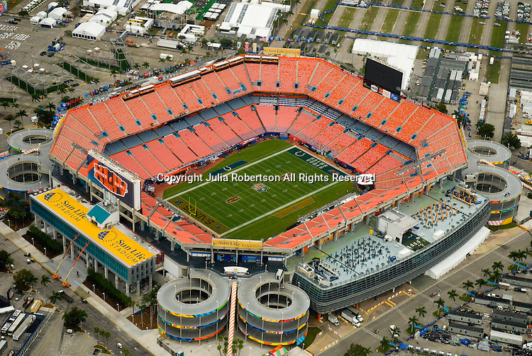 Aerial view of the Sun Life Stadium, 2 days before Superbowl 44 in Opa-Locka, Florida. New Orleans Saints vs the .Indianapolis Colts.   Home of the Fed Ex Orange Bowl, Miami Dolphins, Land Shark Stadium, Dolphin, and Florida Marlins.  (Julia Roberton/via AP Images)