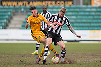 Jon Stead of Notts County and Tom Owen-Evans of Newport County during the Sky Bet League 2 match between Newport County and Notts County at Rodney Parade, Newport, Wales on 6 May 2017. Photo by Mark  Hawkins / PRiME Media Images.
