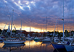 Boats in Camden Harbor at sunset, Camden, Maine, USA