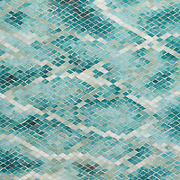 Waterweb, a hand-cut glass mosaic shown in Tanzanite, Chrysocolla, Alexandrite, Feldspar, Aquamarine, Absolute White, Opal, Moonstone, Serpentine, Turquoise, and Amazonite Sea Glass™, is inspired by water.