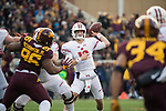 Wisconsin Badgers quarterback Alex Hornibrook (12) throws a pass during an NCAA College Big Ten Conference football game against the Minnesota Golden Gophers Saturday, November 25, 2017, in Minneapolis, Minnesota. The Badgers won 31-0. (Photo by David Stluka)