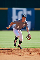 Roc Riggio (9) of Thousand Oaks High School in Simi Valley, CA during the Perfect Game National Showcase at Hoover Metropolitan Stadium on June 17, 2020 in Hoover, Alabama. (Mike Janes/Four Seam Images)