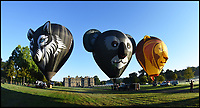 BNPS.co.uk (01202 558833)<br /> Pic Longleat/BNPS<br /> <br /> Big Game...Stunning 'Sky Safari' launches at Longleat house today.<br /> <br /> The stunning sight of a 6 animal themed hot air balloons taking gracefully to the air in front of Longleat House in Wiltshire this morning.<br /> <br /> This weekend a massiive balloon festival with 220 colourful balloons from all over the world will take to the air.<br /> <br /> Organisers are hoping to set a new British record with 150 inflatables in the air simmultaneously.