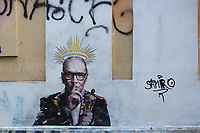 "Roma, 07/07/20. On the 6th July 2020 the Maestro Ennio Morricone died in Rome aged 91. To mark the death of the Italian composer, orchestrator, conductor, trumpet player, songwriter, Ennio Morricone, the street Artist Harry Greb (1.) realised in Trastevere (District where the Maestro lived since 1953) a Graffiti/Stencil/Poster called: ""Il Maestro"".<br />