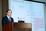 Masashi Muromachi, President and Chief Executive Officer of Toshiba Corp., speaks during a news conference on September 7, 2015, Tokyo, Japan. Toshiba fell into the red for the first time in five years after announcing corrections to its net balance of more than 155 billion yen ($1.3 billion) in its delayed earnings report. The corrections are a result of padding earnings over a seven year period of accounting irregularities. (Photo by Rodrigo Reyes Marin/AFLO)