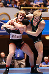 CLEVELAND, OH - MARCH 10: Cross Cannone, of Wartburg, left, wrestles Gregory Warner, of York, in the 149 weight class during the Division III Men's Wrestling Championship held at the Cleveland Public Auditorium on March 10, 2018 in Cleveland, Ohio. (Photo by Jay LaPrete/NCAA Photos via Getty Images)