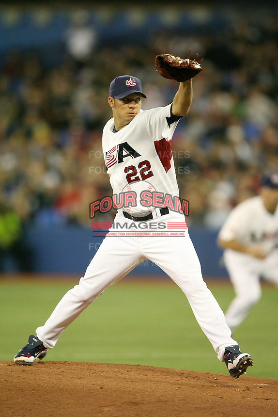 March 7, 2009:  Pitcher Jake Peavy (22) of Team USA during the first round of the World Baseball Classic at the Rogers Centre in Toronto, Ontario, Canada.  Team USA defeated Canada 6-5 in both teams opening game of the tournament.  Photo by:  Mike Janes/Four Seam Images