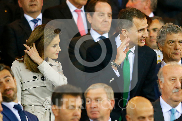 Queen Letizia of Spain (l) and King Felipe VI of Spain during Spanish Kings Cup Final match. May 22,2016. (ALTERPHOTOS/Acero)